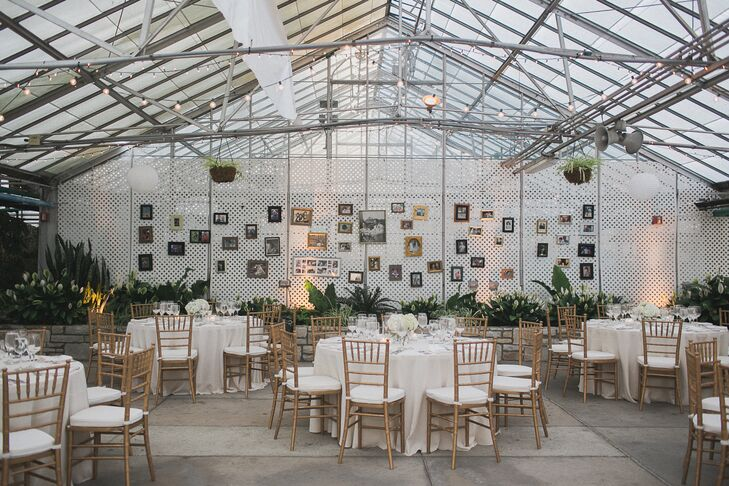 One wall at the conservatory reception was decorated with framed pictures of Nicole and Adam's families over the generations.