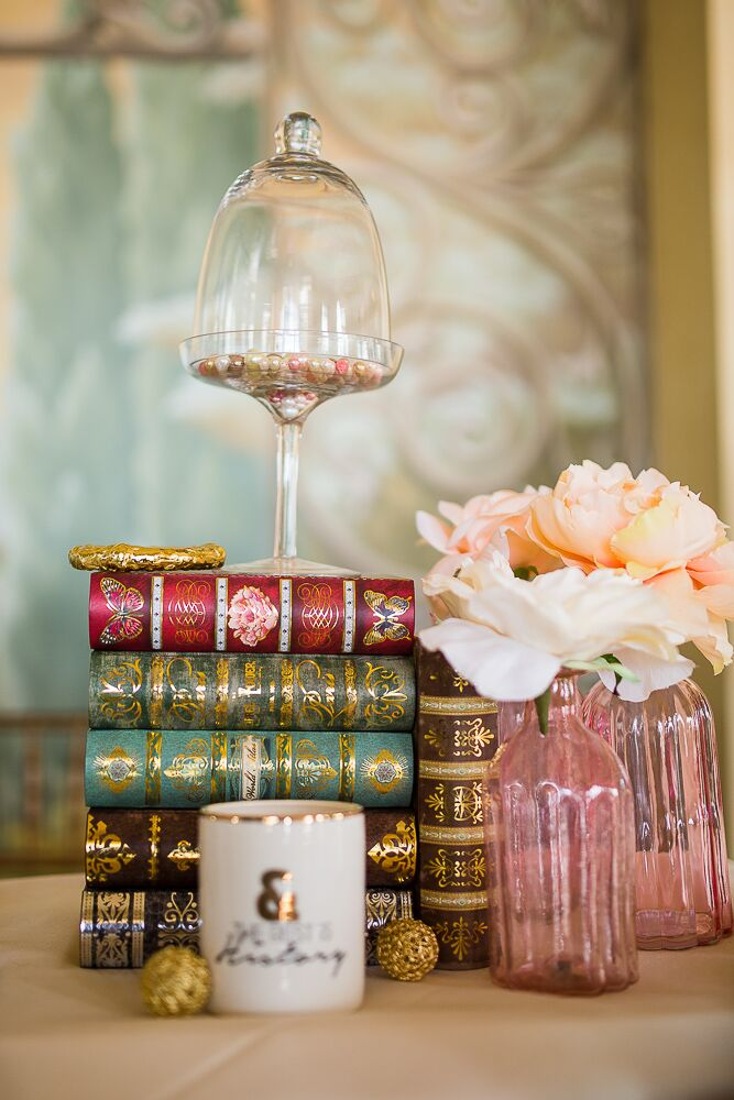 Vintage Book Centerpiece with Bud Vases