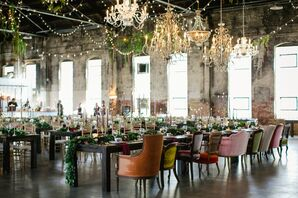 Head Table Designated by Mismatched Vintage Chairs and Glam Chandeliers
