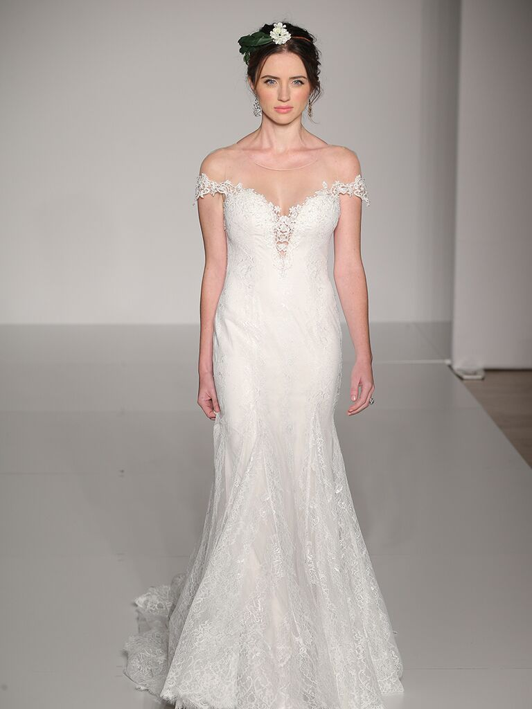 Maggie Sottero Fall 2017 illusion off-shoulder mermaid wedding dress with lace detailing