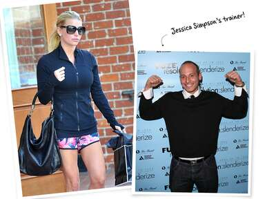 Jessica Simpson in workout clothes and celebrity trainer Harley Pasternak