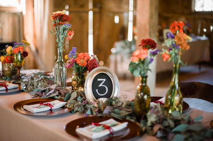 Chalkboard Table Number and Rustic Bud Vases