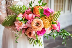 Bright Bouquet of Garden Roses, Orchids and Fern