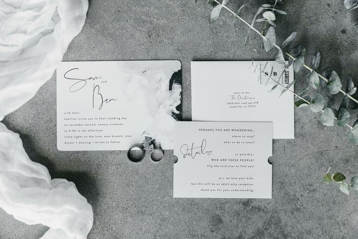 Modern and Romantic Black-and-White Wedding Invitations