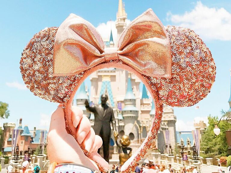 Rose gold Minnie Mouse ears with sequins