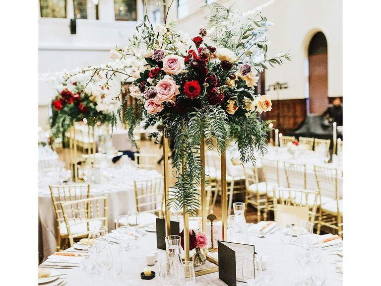 Backyard wedding ideas gold stands