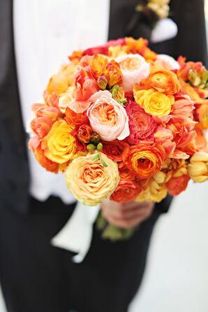 Vibrant Orange Garden Rose and Dahlia Wedding Bouquet
