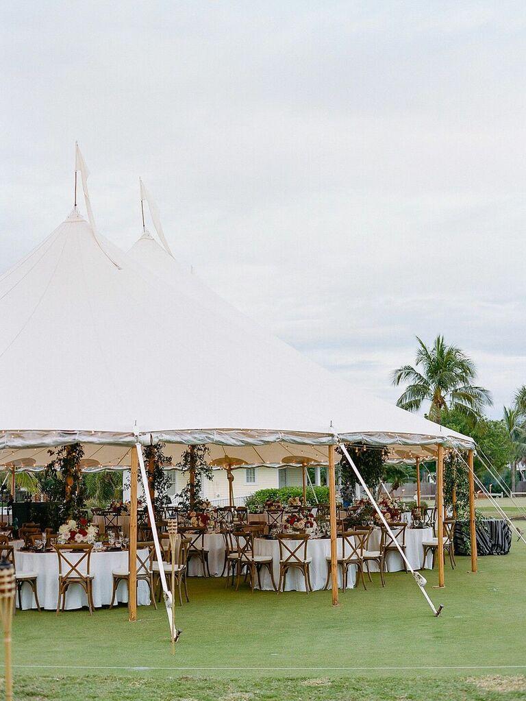 Outdoor summer wedding tented reception
