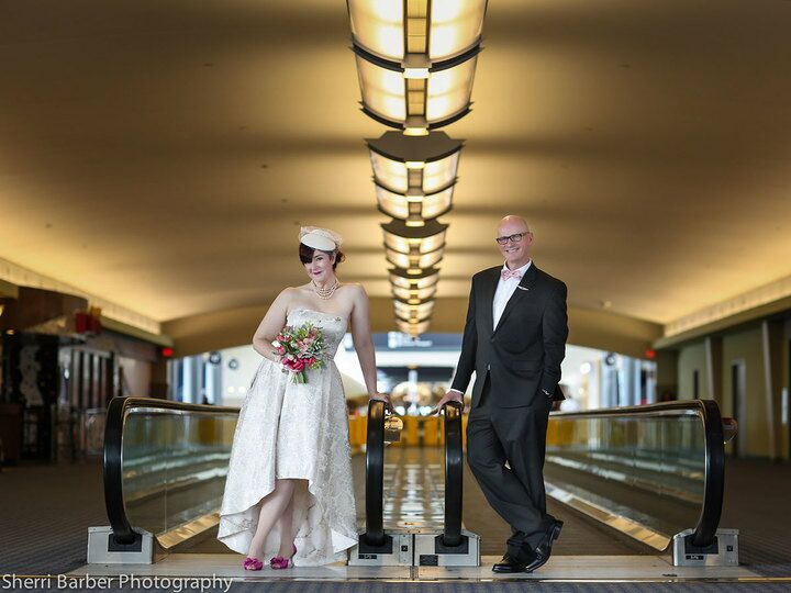 bride and groom at airport