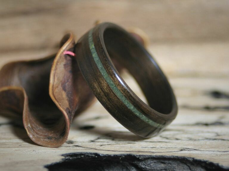 Wooden ring with jade inlay 35th anniversary gift idea