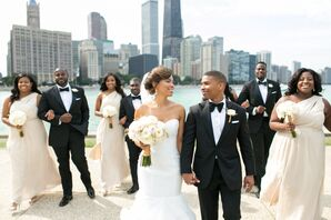 Wedding Party in Front of Chicago Skyline