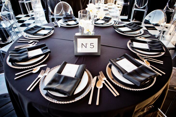 Black White And Silver Wedding Reception Decor