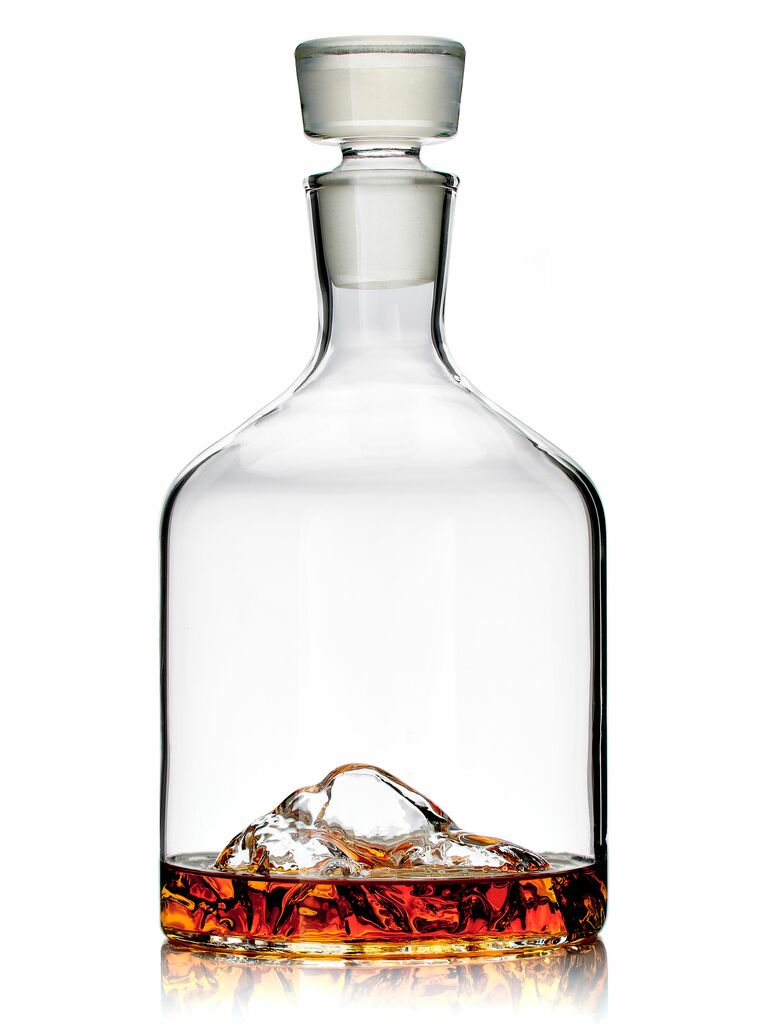 glass decanter with mountain design