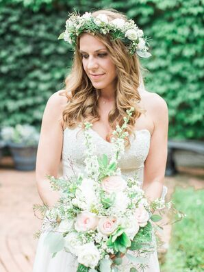Natural White and Green Flower Crown