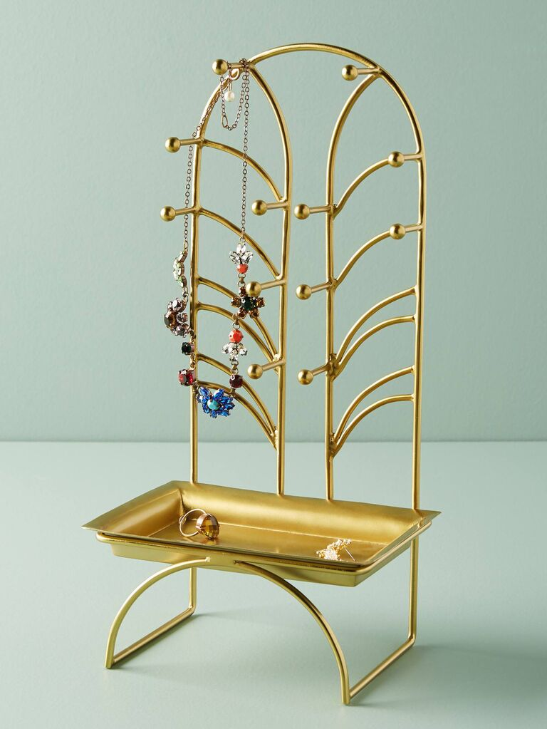 Gold-toned iron jewelry stand