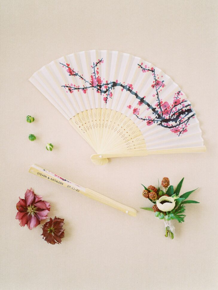 Cherry Blossom Folding Fan for Wedding at Dove Ridge Vineyard in Weatherford, Texas
