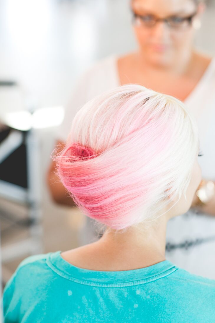 Jeannine died her hair pink and had an updo hairstyle on her wedding day, done by Headhouse Salon.