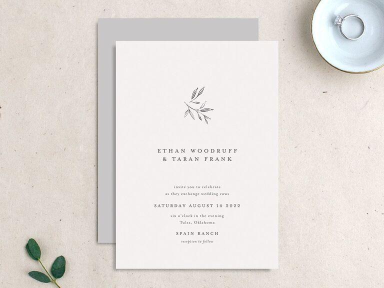 Rustic leaf motif invitation
