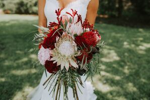 Burgundy and Blush King Protea and Peony Bouquet