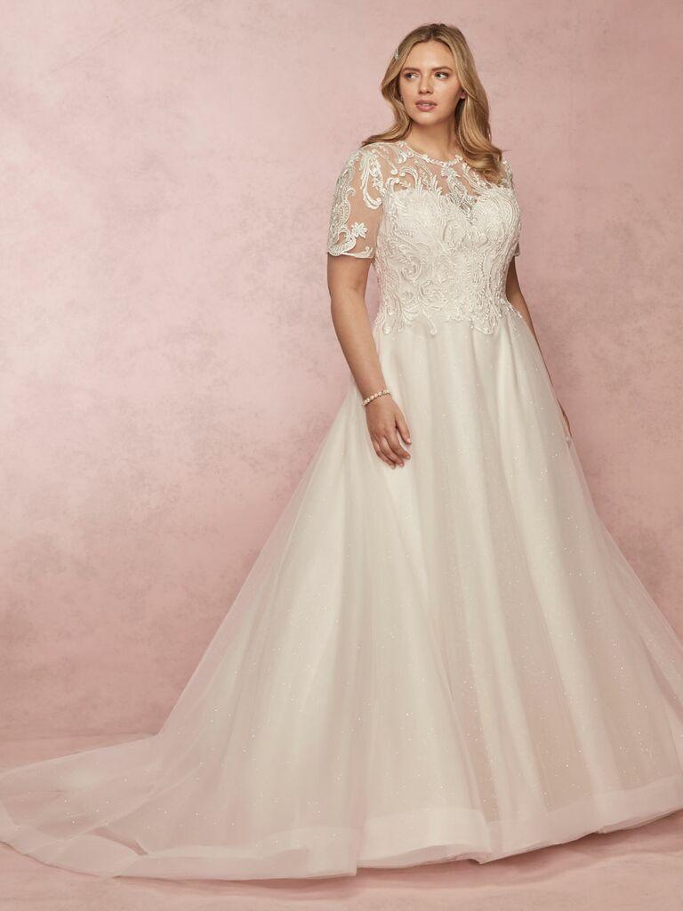 Rebecca Ingram Spring 2019 short sleeve plus size ball gown wedding dress