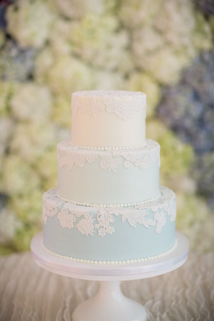 Blue Ombre Lace Detailed Wedding Cake