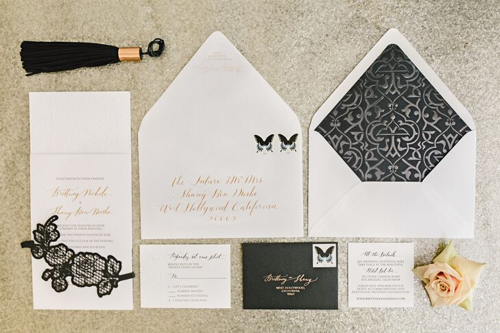 Fashion-forward rose gold foil was integrated throughout the letterpressed stationery suite, from the save-the-dates to the escort cards.