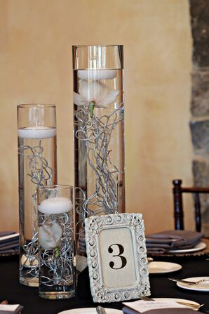 Framed Table Numbers with Glass Cylinder Centerpieces
