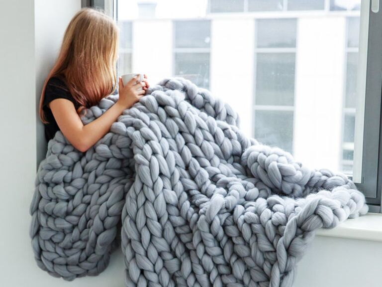 knitted wool blanket 7th anniversary gift