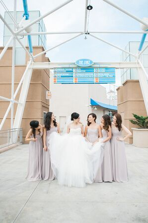Champagne-Colored, Long Bridesmaid Dresses