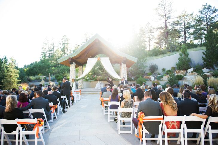 """""""It was the perfect combination of mountain elegance with vaulted ceilings, stonework, fireplaces and a gorgeous ceremony gazebo built into the private hillside,"""" Cara says."""