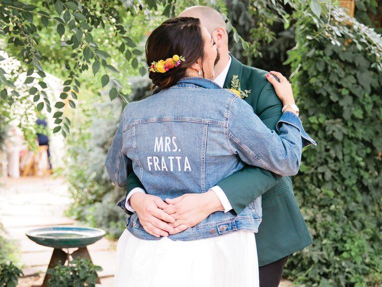 bride in Mrs. denim jacket