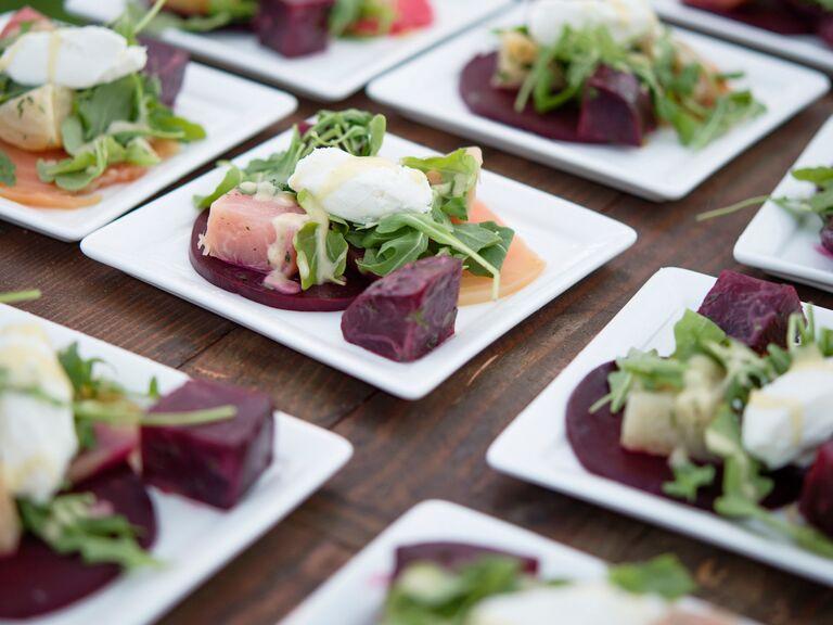 Beet salad served at a wedding reception.