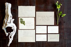 Ivory Paper Stationery With Leaf and Wood Details