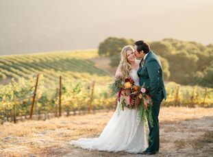 Annie Keire and Kris Udang fused bohemian romance with rock and roll for their fall nuptials at the historic Holman Ranch in California's Carmel Valle