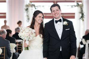 Beaded White Flower Wedding Dress Belt