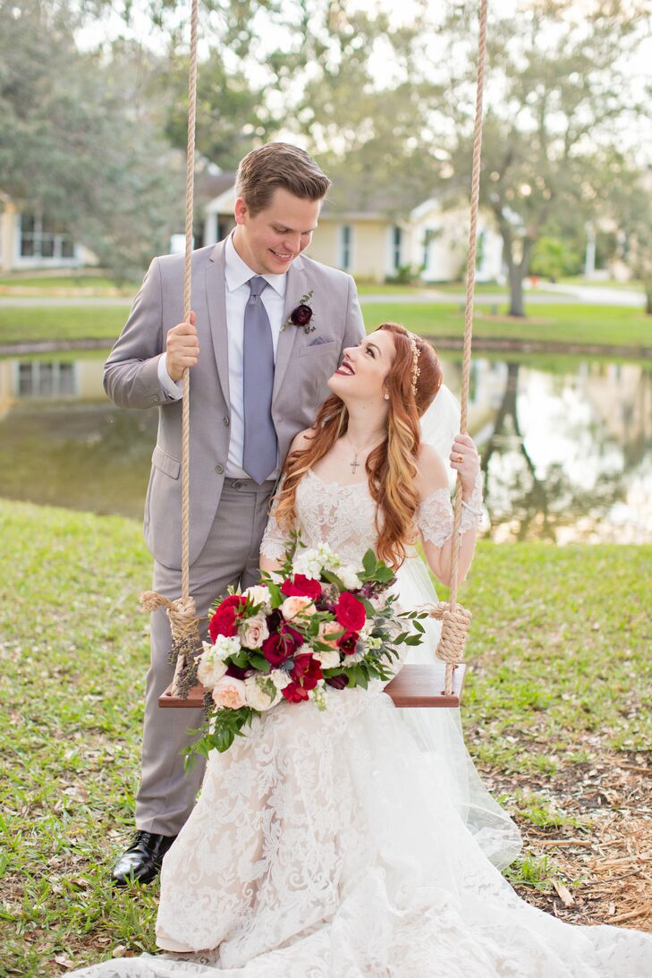 Bride on a Swing Holding a Garden Rose Bouquet