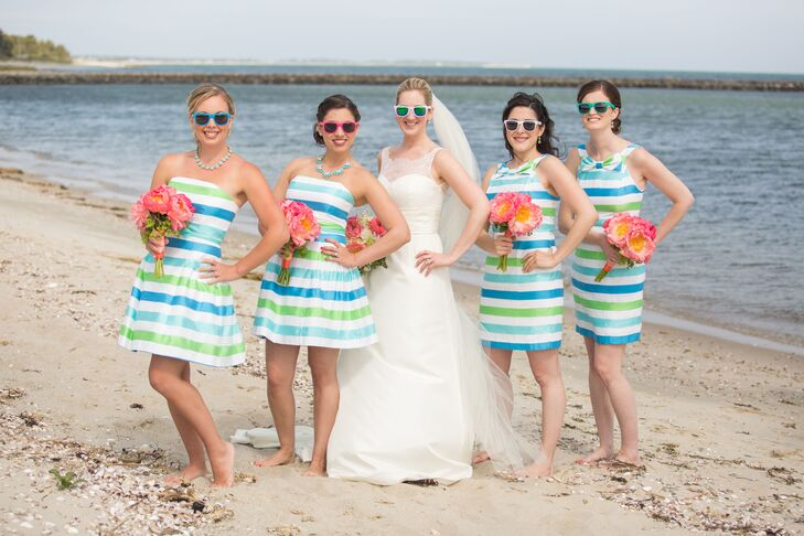 Preppy Blue And Green Striped Lilly Pulitzer Bridesmaid Dresses