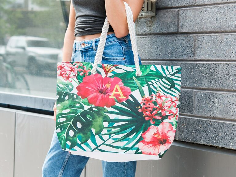 Tropical tote bachelorette party gift