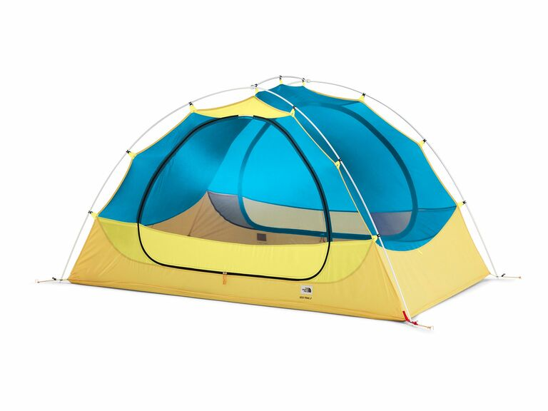 blue and yellow tent for two people