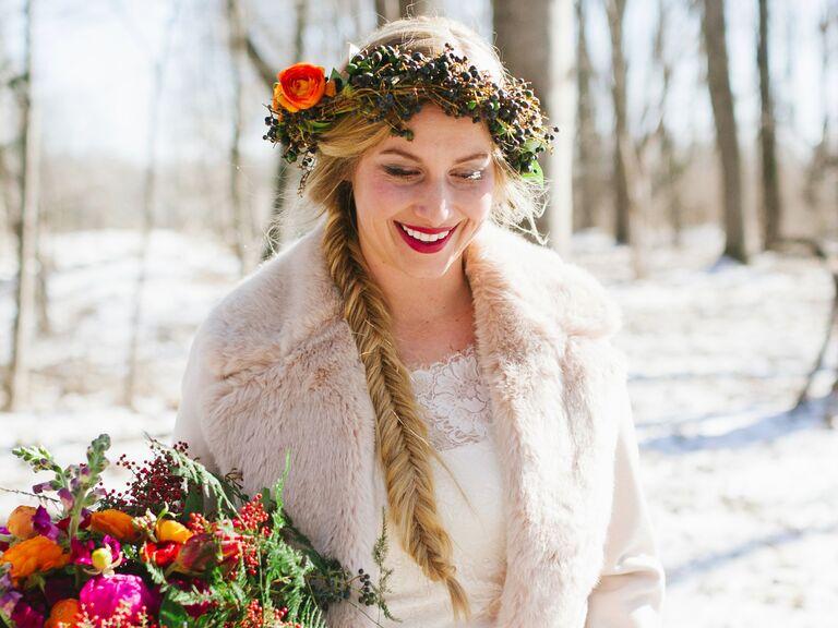 Bride in winter wedding