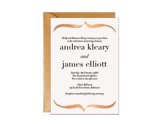 Bronze foil wedding invitation design by Paper Source