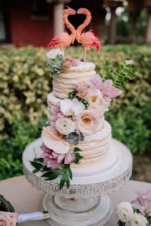 Cake with Tropical Flowers and Flamingo Topper