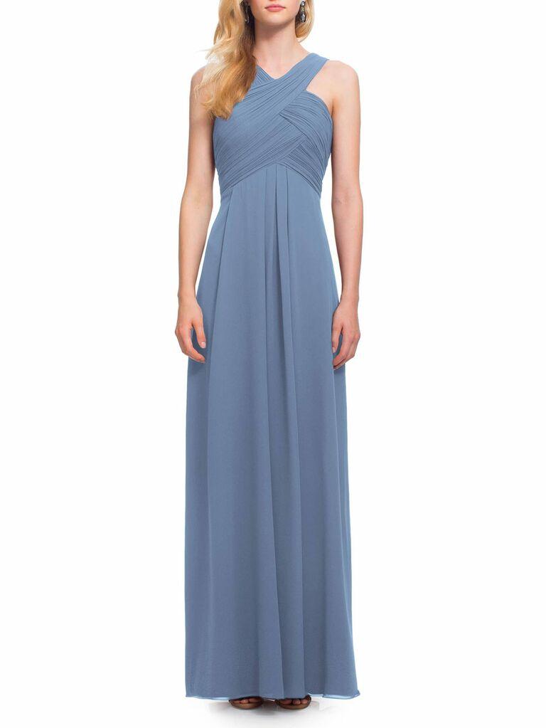Blue long #Levkoff spring bridesmaid dress