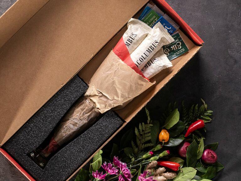 Man Crates salami bouquet Valentine's Day gift