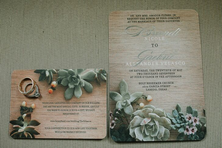 Natural Woodgrain Wedding Stationery With Succulents