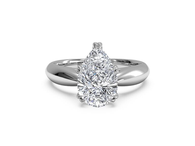 Ritani solitaire diamond tulip cathedral engagement ring in 14K white gold