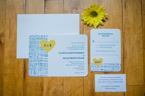 White, Yellow and Blue Invitations