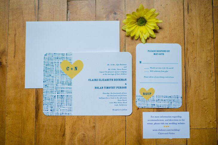 Wedding invitations were on white card stock decorated with a blue burlap design, which also matched the blue writing on the cards. They were accented with canary yellow hearts that had the couple's first-name initials. The couple was happy with the overall simple look of the invitations.