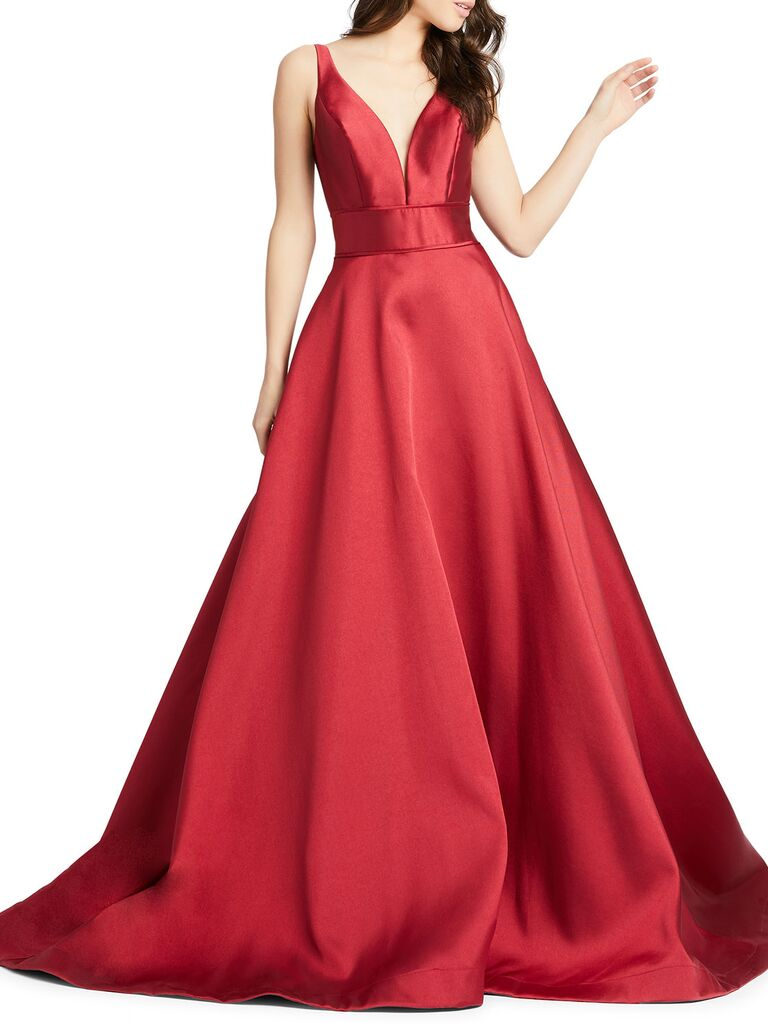 Mac Duggal sleeveless plunging V-neck mikado ball gown