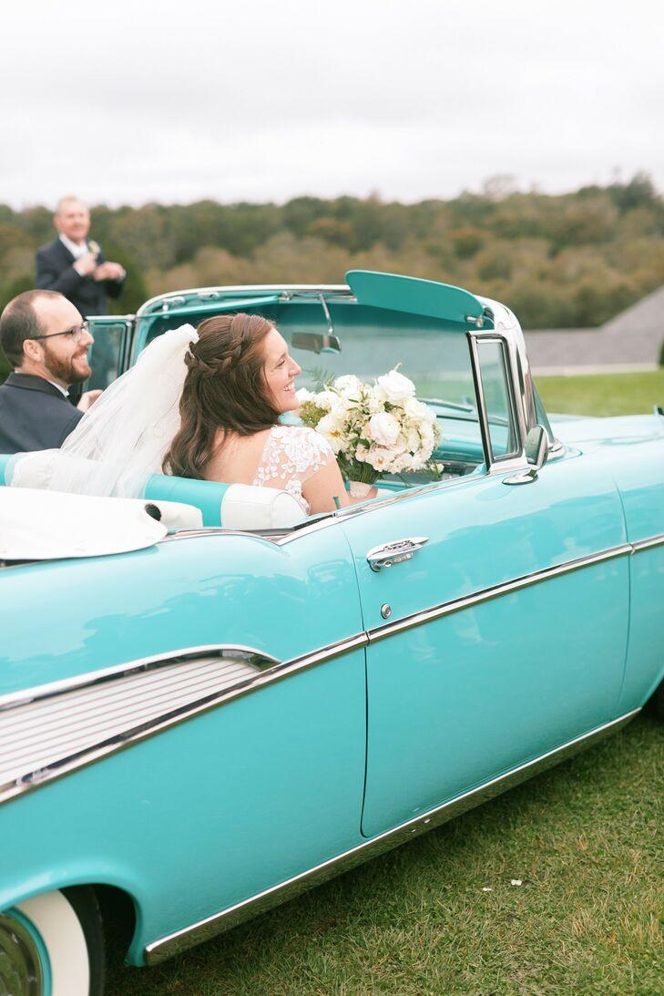 Couple in Teal Antique Getaway Car on Martha's Vineyard